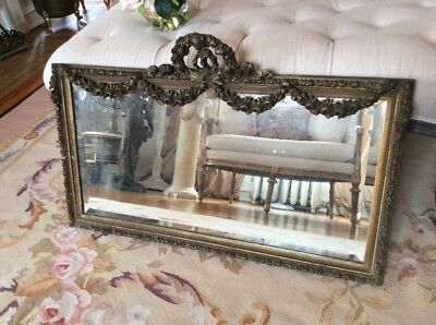 SHABBY Antique VTG FRENCH OLD  Barbola swag ROSE WREATH Mirror GESSO FRAME