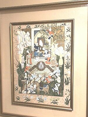 Antique Middle Eastern Gouache painting on silk