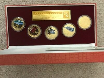 EXPO 2010 Shanghai China Commemorative 5 Piece Gold-Plated Copper Medallion Set