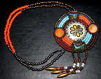 Native American Indian Hippie Bead Necklace Halloween Costume Accessory Jewelry