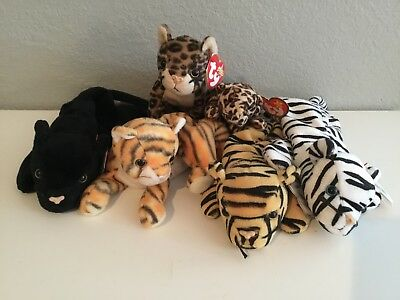 TY Beanie Baby Jungle Cat Set of Six