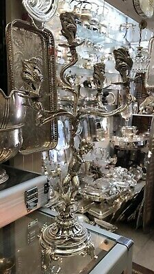 Magnificent Antique Solid Silver Italian Very Large Candlelabra Circa 1920s