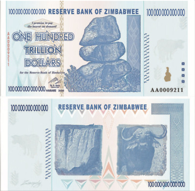 Zimbabwee 100 Trillion Dollars, Aa/2008, Unc, 100 Trillion Novelty Series