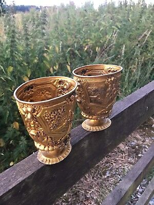 Antique 19th Century German Rare Pair Silver Gilt Renaisance Revnal Cups/goblets