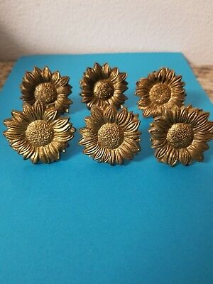 Set of 6 Antique Solid Brass Flower Drawer Cabinet Pull's