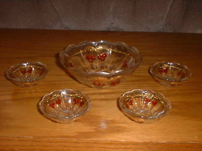 Mosser Glass Cherry Thumbprint Childs Berry Set