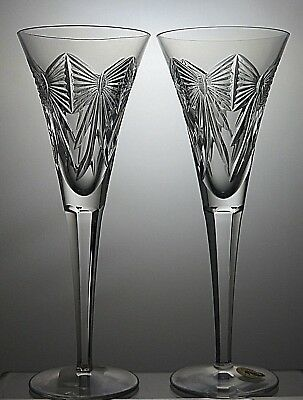 "Pair Of Waterford Crystal Millennium Series ""happiness"" Champagne Flutes"