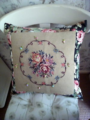 Vintage Handmade Tapestry & Sundour Canterbury Chintz Fabric Cushion Cover 18""