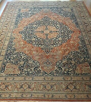 AUTHENTIC ANTIQUE TABRIZZ HAJ-JALILI HAND-KNOTTED WOOL ORIENTAL RUG 9' x 13'