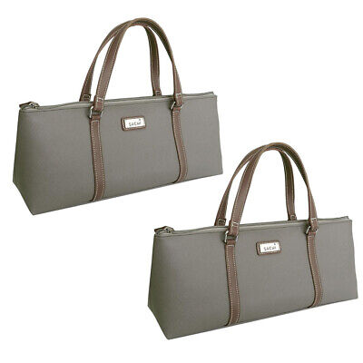 2x Sachi Wine Bottle Insulated Cold Handbag Tote Carrier Purse Bag Handle Taupe