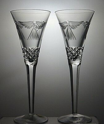 "Pair Of Waterford Crystal Millennium Series ""peace"" Champagne Flutes"