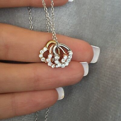 Tri-Tone Triple Heart CZ Necklace Goldtone Rose Valentine Gift 3 Hearts Love
