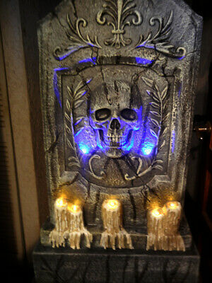 5 FOOT CEMETERY TOMBSTONE with CROW / LIGHTS / SOUND and TIMER HALLOWEEN PROP