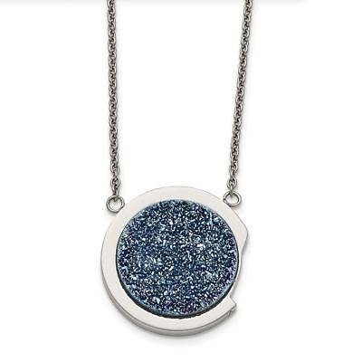 Chisel Stainless Steel Polished with Blue Druzy Stone Necklace MSRP $190