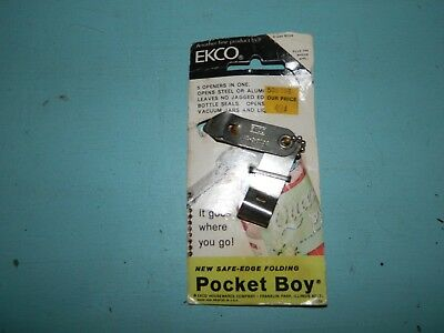 Vintage Ekco Can Bottle Opener Keychain Pocket Boy Folds 5 in 1 Safe Edge-08560C