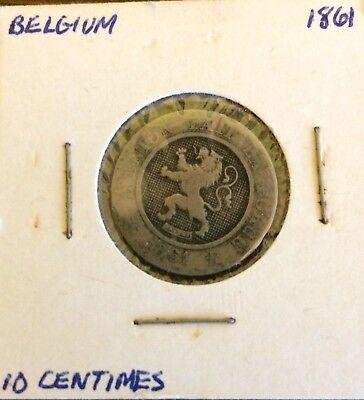 1861  Belgium, 10 Centimes, VERY OLD RARE COIN