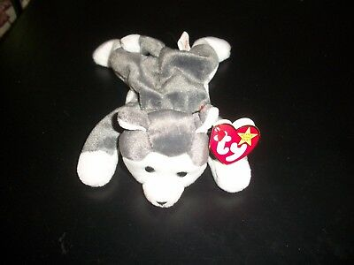 Ty Beanie Babies Baby Naook Gray White Siberian Husky Puppy Dog Lay Flat W Tags