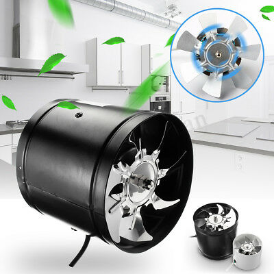 """6"""" Inline Duct Booster Fan Air Cooling Vent Exhaust Blower Grow Tent Metal Blade"""