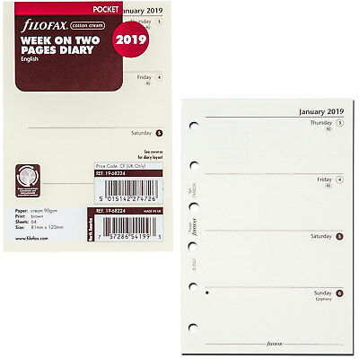 2019 Filofax Pocket Size Refill 19-68224, Cotton Cream, Week On Two Pages