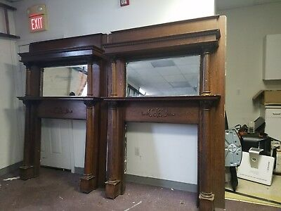 2 Identical Vintage Mantle Oak 1900s  Beveled Mirror Fireplace Victorian Antique