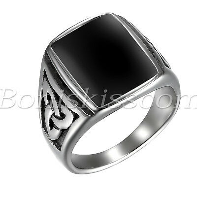 Men's Vintage Stainless Steel Celtic Knot Enamel Signet Ring Band US Size 7-13