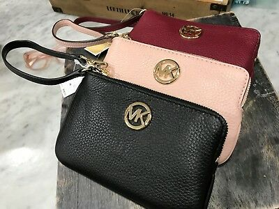 Michael Kors FULTON Medium Top Zip Leather Wristlet Pouch Various Colors $98.00