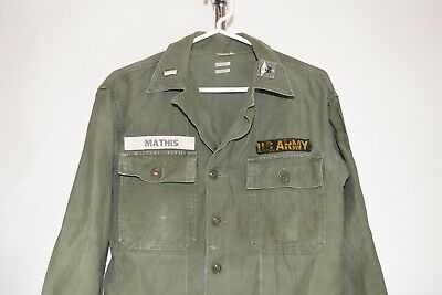 Vtg 50s 60s US Army Type 1 Sateen Fatigue Utility Shirt NAMED 1LT MS insignia S