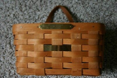 Longaberger 1991 Medium Key Basket w/Protector Wall Hanger