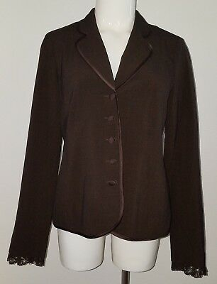 Motherhood Maternity Brown Blazer Jacket Size Small Career Pink Lined Lace Wrist