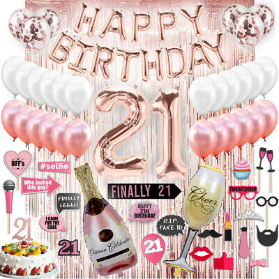 21st Birthday Decorations 21 Party Supplies Cake Topper Rose Gold