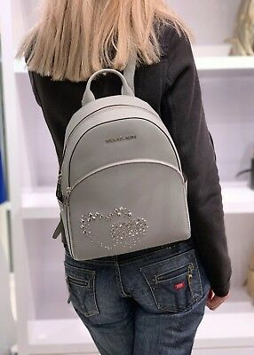 a9f1fdc4bee3 Michael Kors Abbey Medium Backpack Heart Studded Leather Saffiano Ash Grey