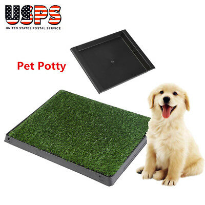 "24""x19"" Puppy Pet Potty Training Pee Indoor Toilet Dog Grass Pad Mat Turf w/Tray"