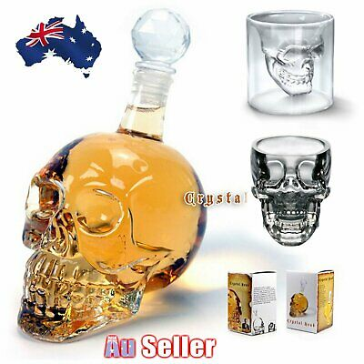 Crystal Skull Head Vodka Shot Whiskey Wine Bottle Decanter Wine Drinking Glass