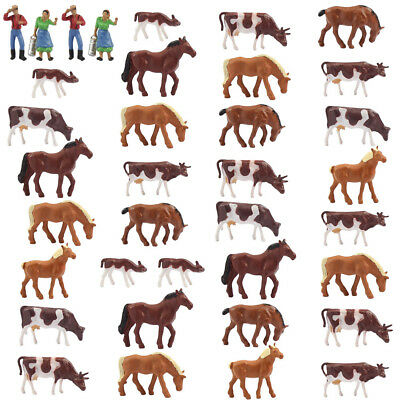 Model Railway 36PCS 1:87 Well Painted HO Scale Farm Animals Cows Horses Figures