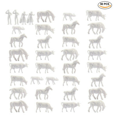 Model 90PCS 1:87 Unpainted White Farm Animals HO Scale Cows Horses Figures
