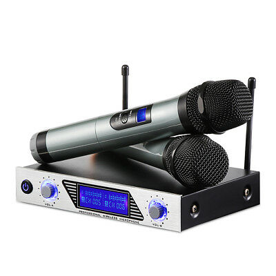ARCHEER Dual Channel VHF Wireless Dual HandHeld Microphone System Metal Receiver
