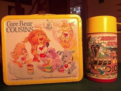 Metal Carebear Cousins lunchbox and Disney Experss thermos by Aladdin.
