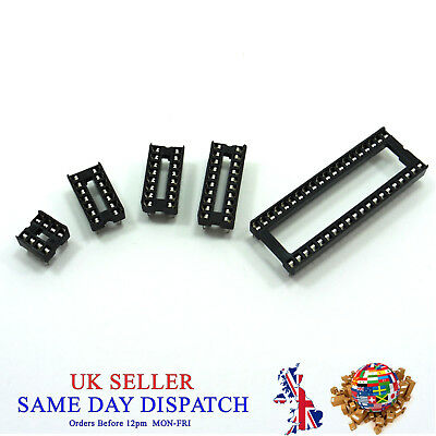 IC Socket 14, 16, 20, 40 Pin Standard Low Profile Integrated Circuit