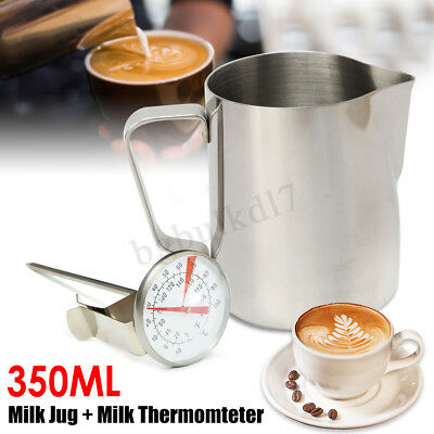 Stainless Steel Milk Coffee Pitcher Latte Espresso Frothing Jug & Thermometer
