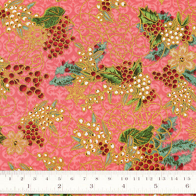 Japanese Cotton Fabric by FQ Grape Vine Fruit Golden Star Snow Flake Damask VJ25