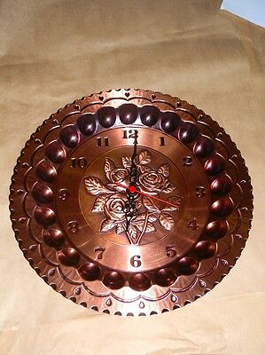 Clock by wall copper polished to quartz paesaggio 30 cm ROSE