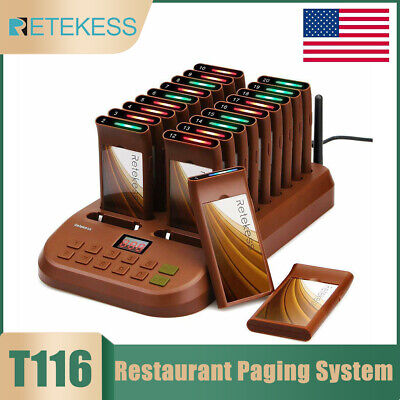 Restaurant Guest Call Wireless Paging Queuing Calling System+20Coaster Pagers US