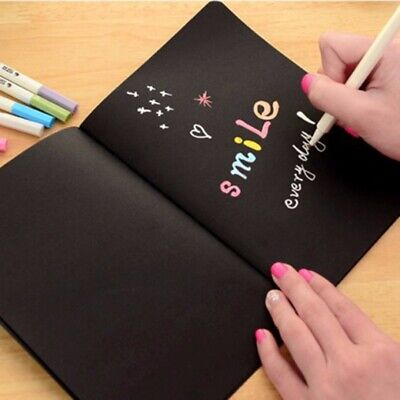 Black Paper Sketch Book Diary Drawing Painting Graffiti Notebook w/ Soft Cover