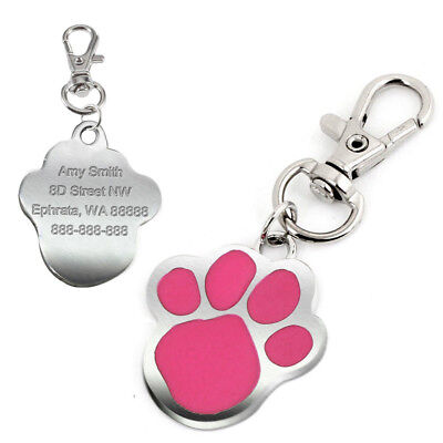 Paw Print Personalised Dog Tags Disc Cute Pet Puppy ID Name Collar Tag Engraved