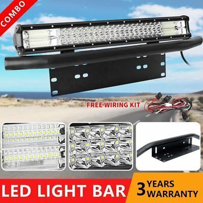 "23 inch 3row LED Light Bar + 23"" Number Plate Frame Mount Bracket 4X4WD SUV ATV"