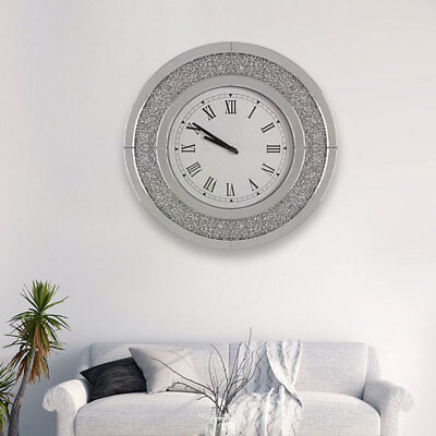 50cm Bevelled Glass Crystal Mirrored Round Roman Numeral Wall Clock Art Decor UK