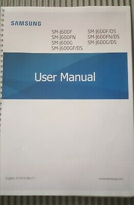 Samsung Galaxy J6 J600F  Printed Instruction Manual Guide 170 Pages A5 2018