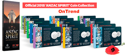 Official 2018 ANZAC SPIRIT COIN Collection (15 Coins with FOLDER) ALL IN STOCK