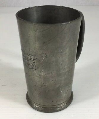 Antique Victorian Pewter Half Pint Measure Tankard Initialed HG 12cm In Height