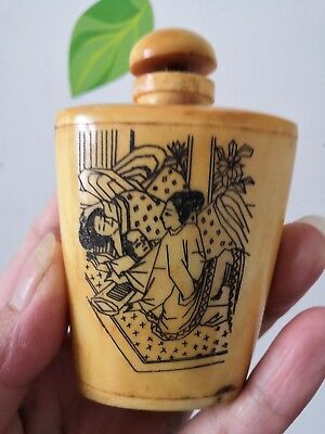 Antique Chinese Hand-carved Bovine bone sex culture statues Snuff bottle